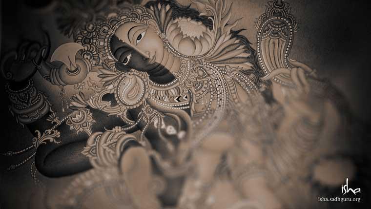वॉलपेपर - Ardhanareeshwara in black and white HD