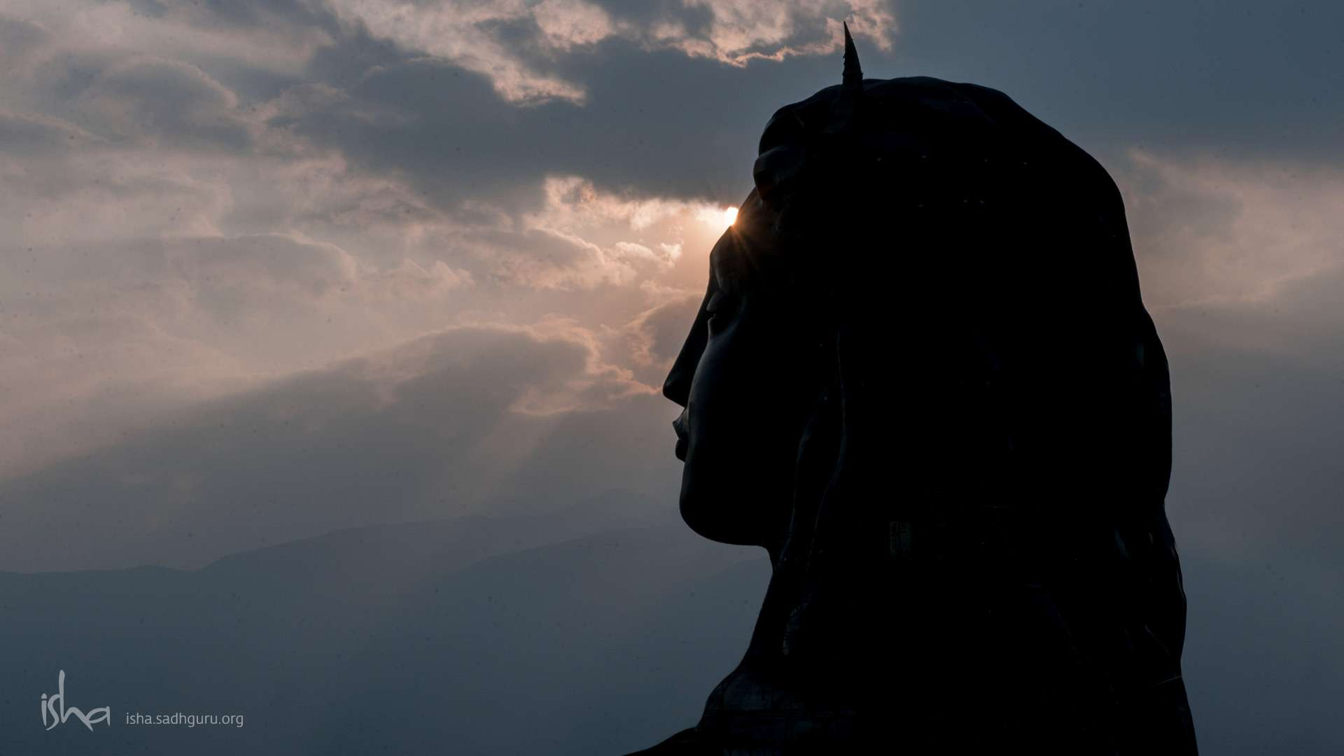 वॉलपेपर - The Adiyogi with setting Sun HD