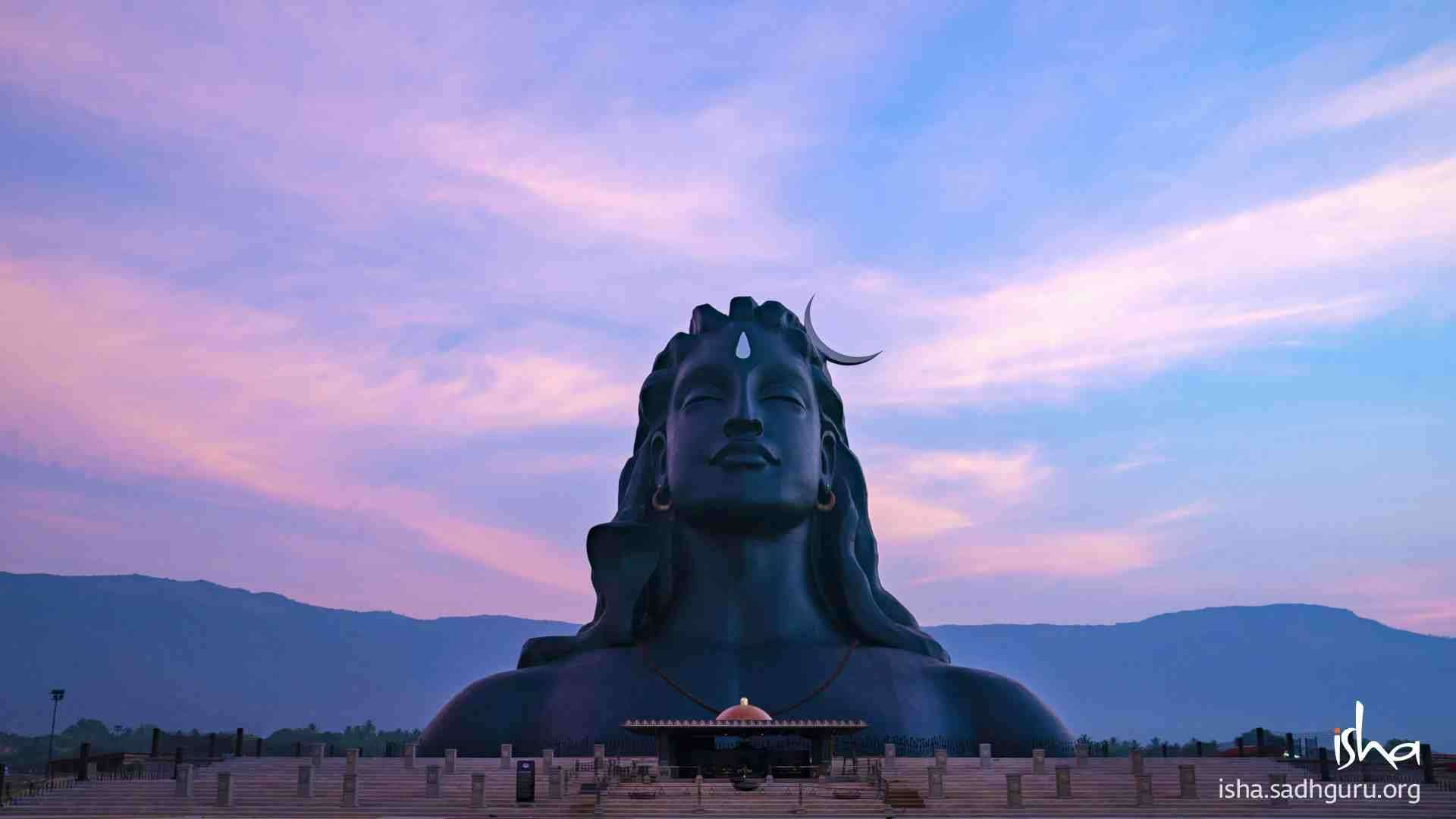 Shiva Wallpaper - on a blue and purple sky