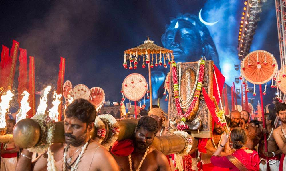 The Bhairavi Procession arrives at Adiyogi