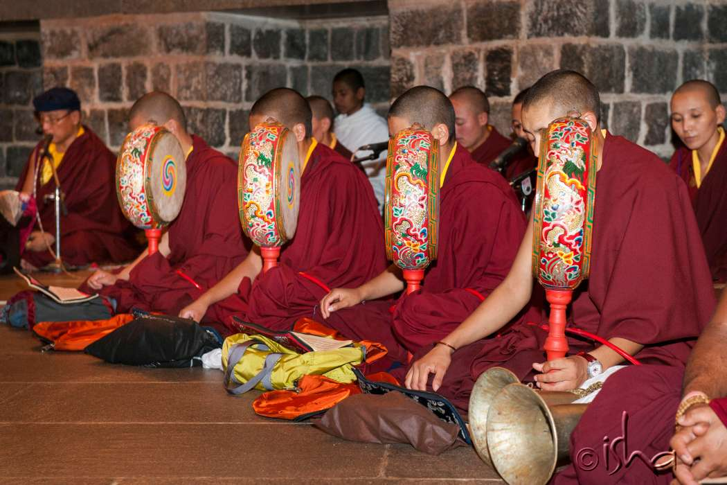 Buddhist monks offering on 14th Anniversary of Dhyanalinga Consecration, 2014