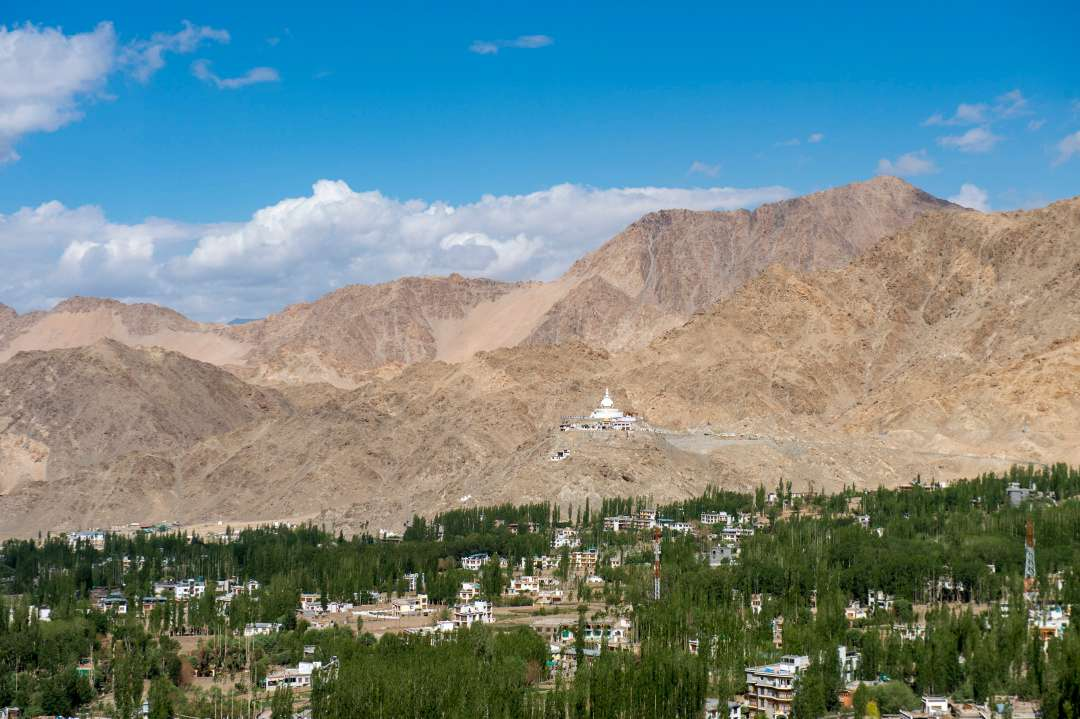 Leh with the famous Shanti Stupa