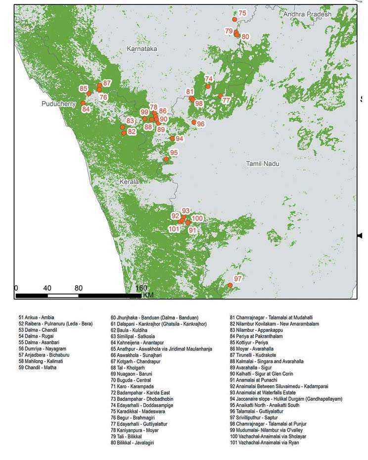Map showing the location of all elephant corridors proposed by WTI in India.