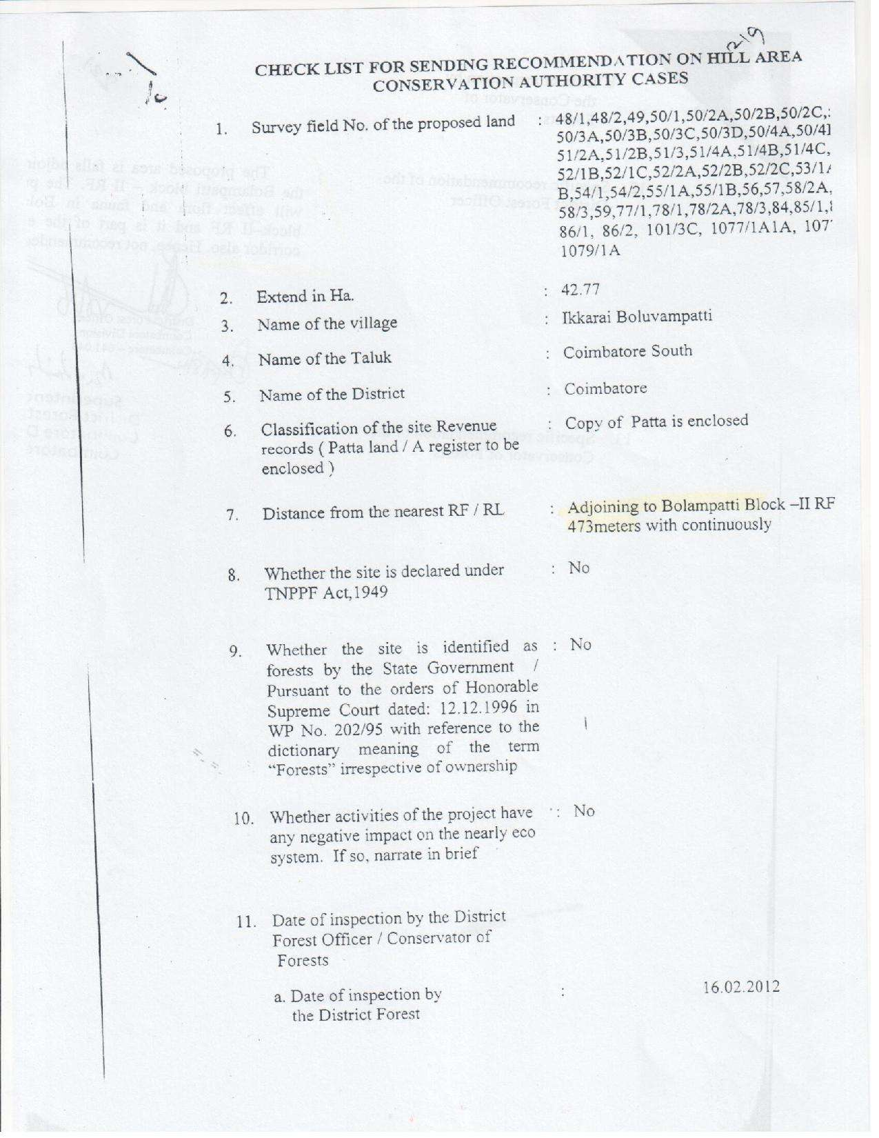 DFO Letter to PCCF Chennai, Page 1 | Is Isha Yoga Center in an Elephant Corridor? Learn the Truth