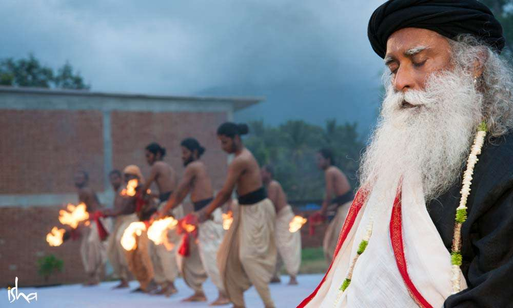 Guru Purnima Images | Fire aarti at by Devotees in front of Sadhguru