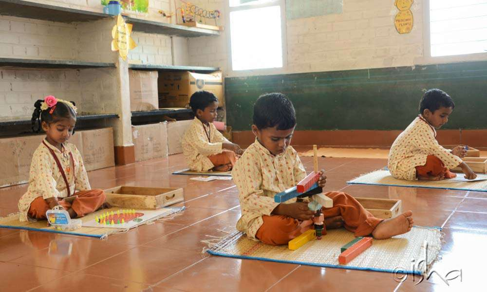 Isha Vidhya kindergarten students in activity