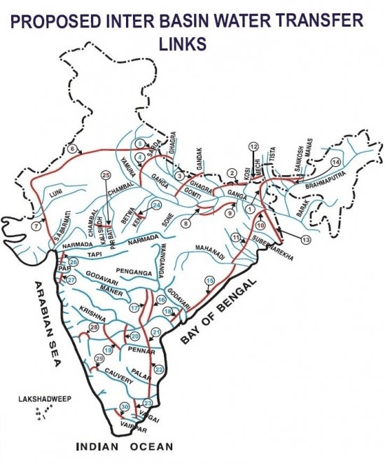 proposed inter basin water transfer map