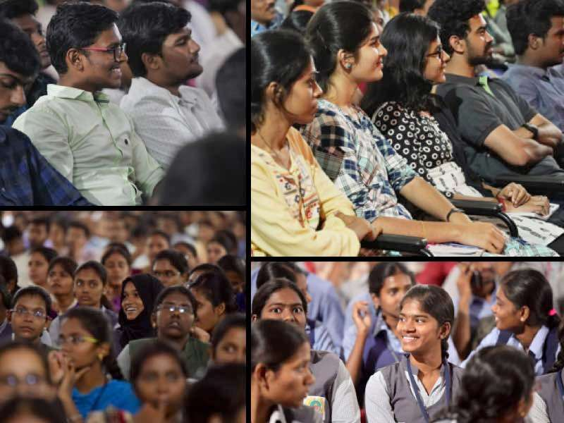Students of Tamil Nadu Agricultural University listening to Sadhugru and the moderators at the Youth AND Truth in their University | The Pulse of Youth AND Truth - TNAU