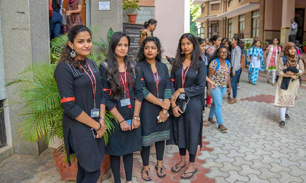 The security girls for the Youth and Truth event at Mount Carmel College, Bengaluru
