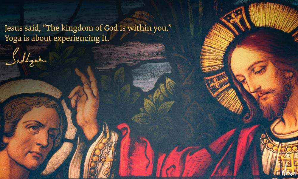 Stained glass painting of Jesus Christ | Guru Purnima Quotes from Sadhguru