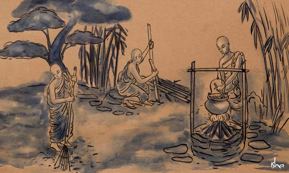 Japans style ink illustration of Zen monks sweeping floor, chopping wood and cooking food | The Importance of Guru Purnima: A Day to Earn Grace