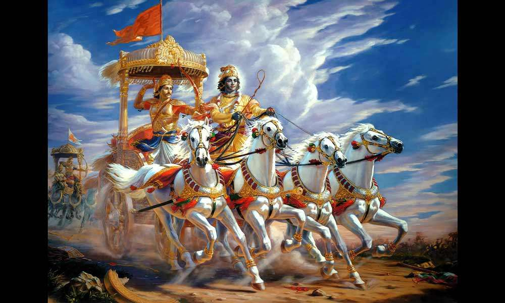 Krishna and Arjuna on a chariot in the Kurukshetra war | The Right to Protest & Question: How Much is Too Much?
