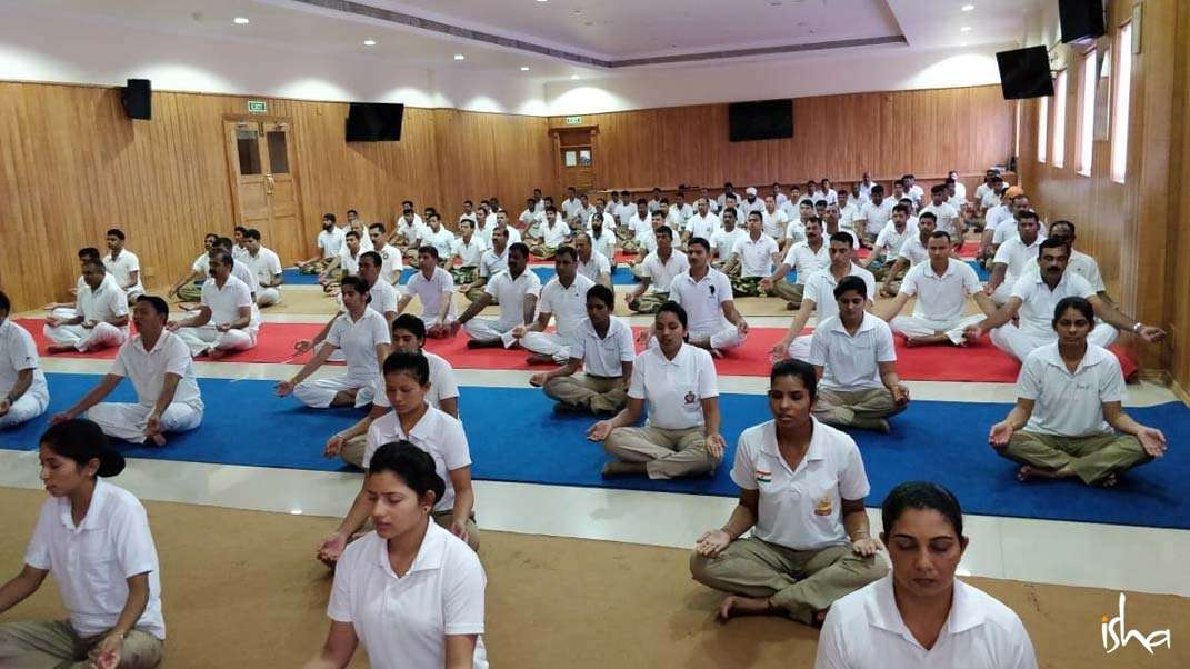 BSF soldiers doing yogic practices on International Yoga Day