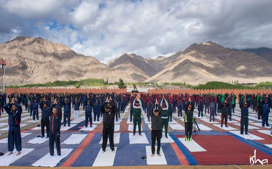 Indian Army soldiers at Leh doing Yoga Namaskar
