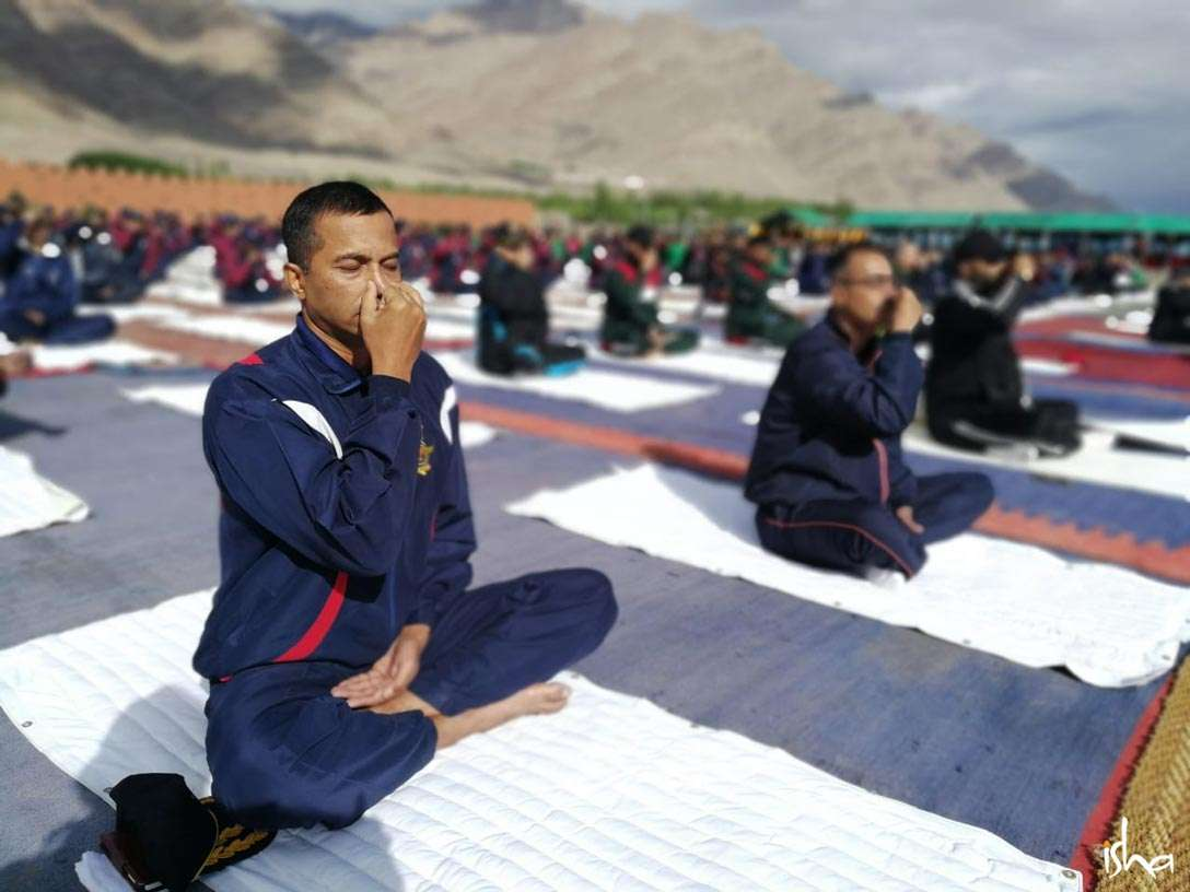 Indian Army Soldiers at Leh practicing Nadi Shuddhi and other Yogic practices