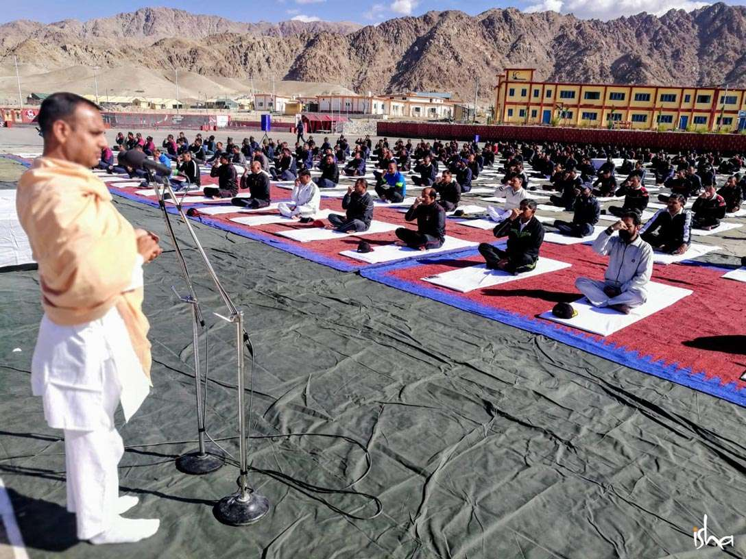 An Isha Hatha Yoga teacher conducts a Yoga session at Leh
