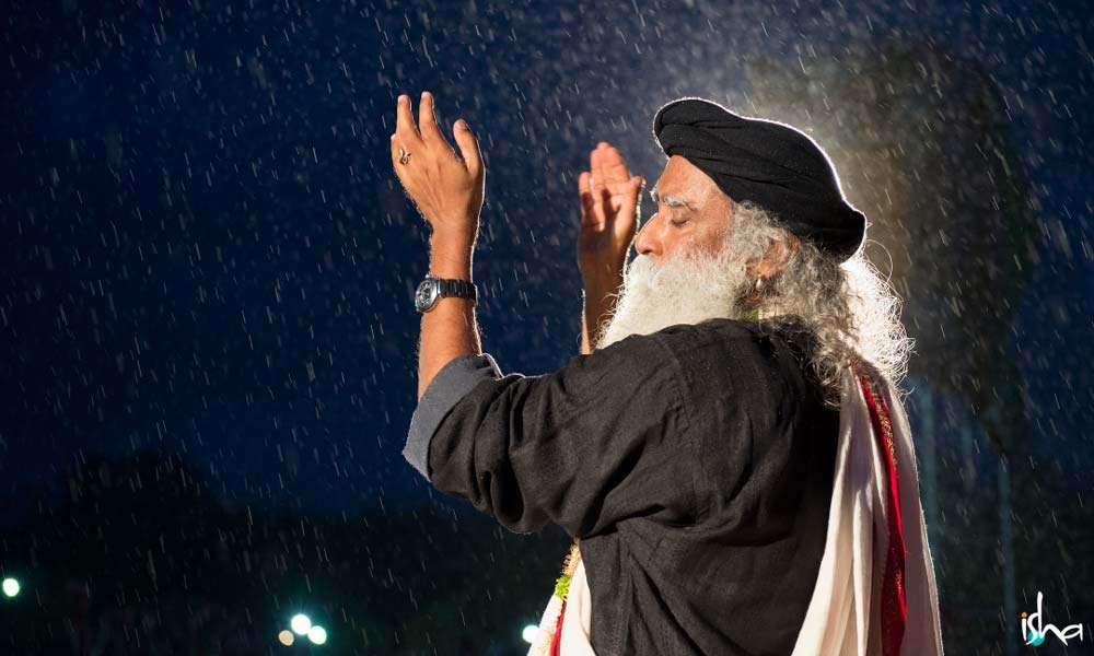 Sadhguru in the Rain