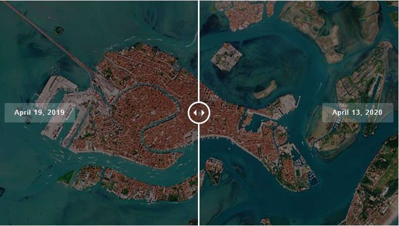 Venice water Canals before and after lockown