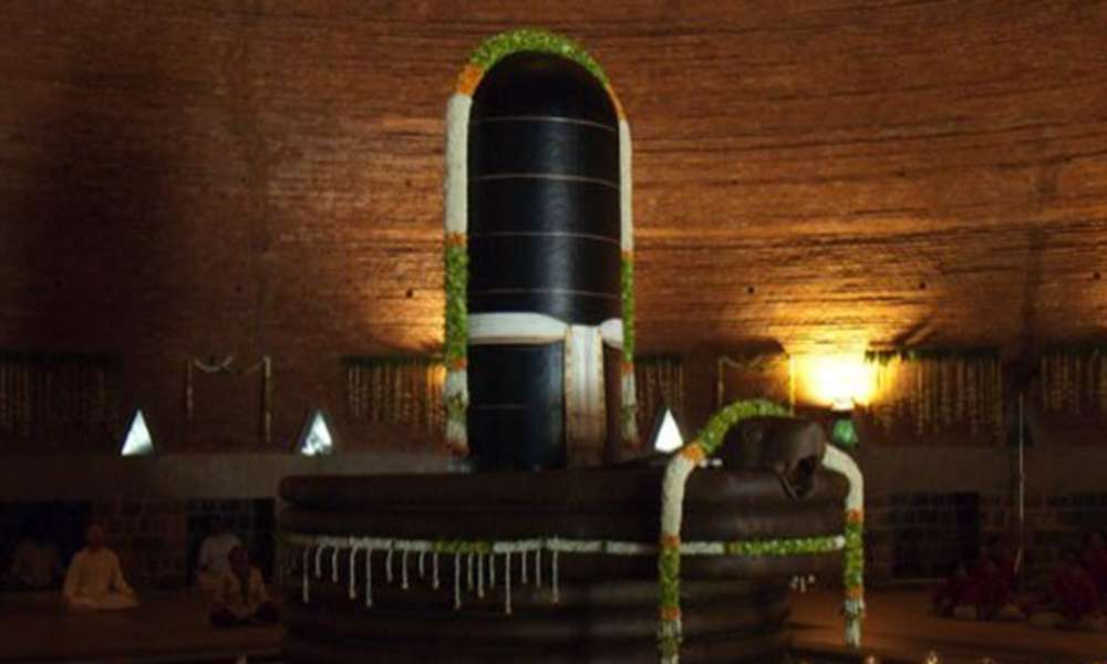 Dhyanalinga decorated for the 12th anniversary