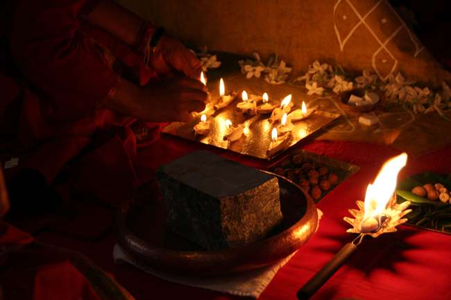 Deepam or ghee lamps offered to LB