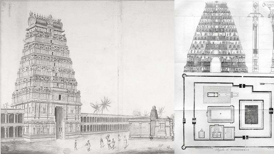 Chidambaram Temple - (Left) Illustration by Ward F. Swain (Right) Illustration of the Architecture