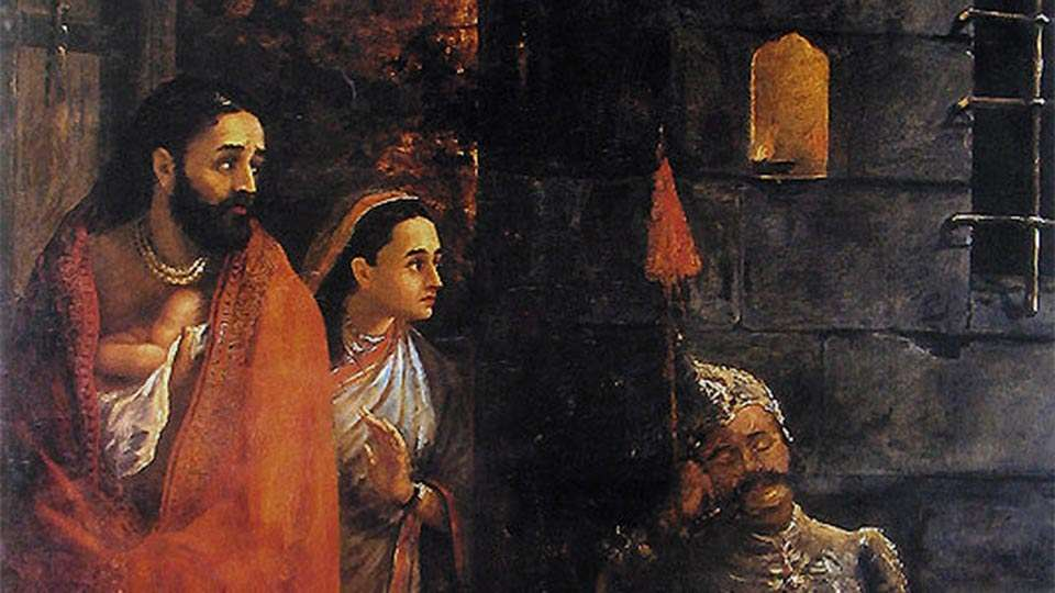 Birth of Krishna - Painting by Raja Ravi Varma depicting Vasudeva and Devaki with infant Krishna escaping from Kamsa's prison