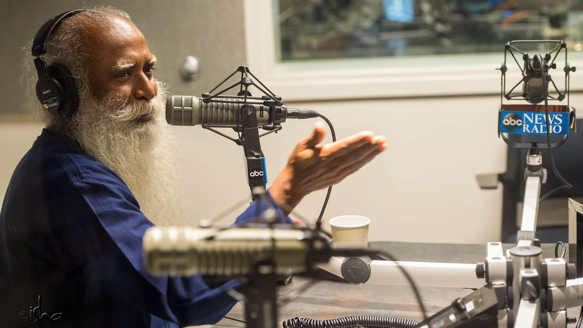 Sadhguru recording podcast at the ABC Studios on 24 October 2016