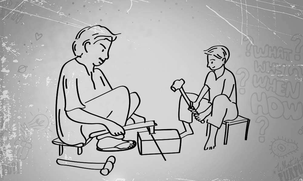 Illustration of father teaching blacksmith to son | The Truth About The Caste System & How We Can End It