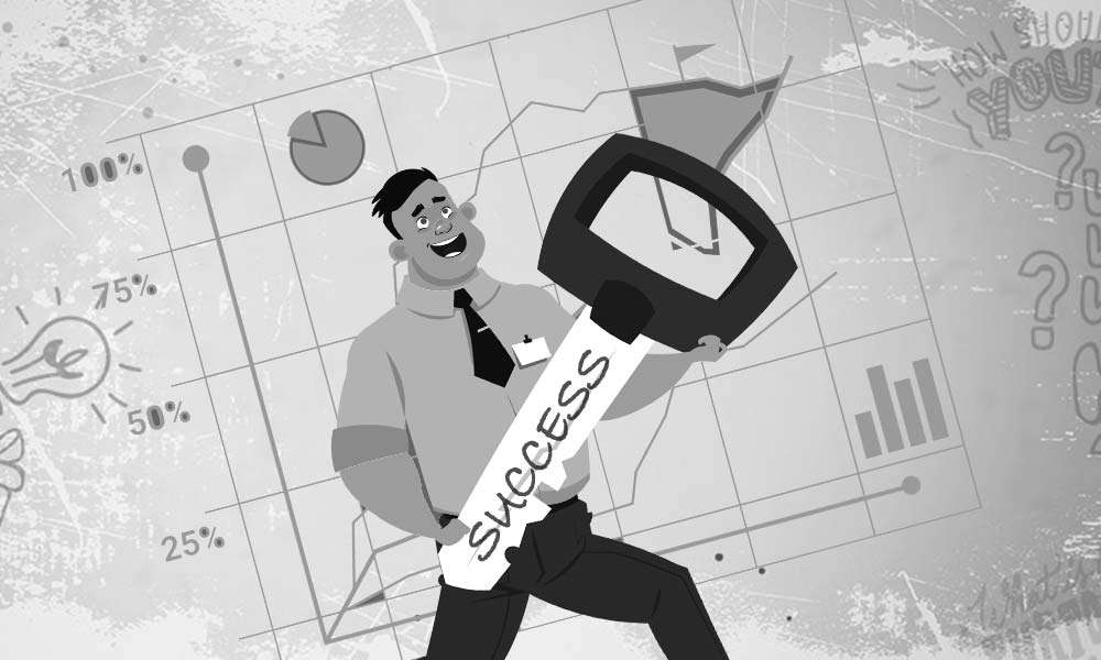 Illustration of a Happy Businessman holding Success Key | The Key To Unlocking Success