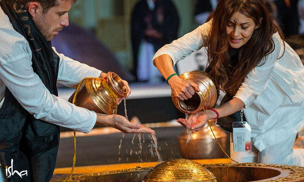 Offering Water to the Linga at the Adiyogi-Abode of Yoga, III, USA | Investing in Infrastructure to Raise Human Consciousness