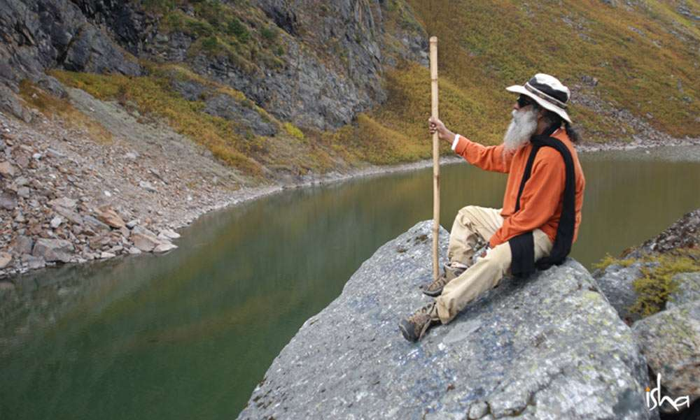 Sadhguru at Kantisarovar in Himalayas, where he experienced everything as sound