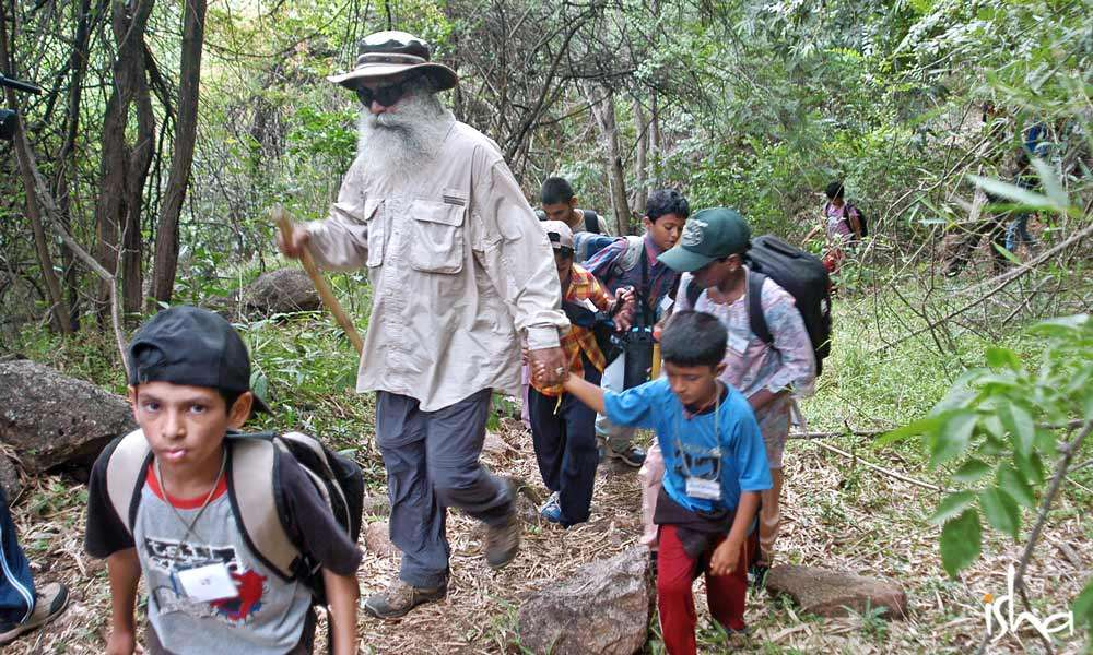 Sadhguru trekking with a group of children | Why Children Must Connect With Nature