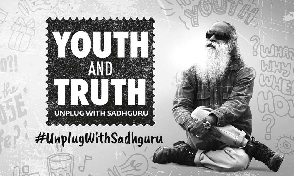 Image of Sadhguru in casual wear, sitting, Youth and Truth campaign logo and doodles | Youth N Truth – When Gossip Goes Cosmic