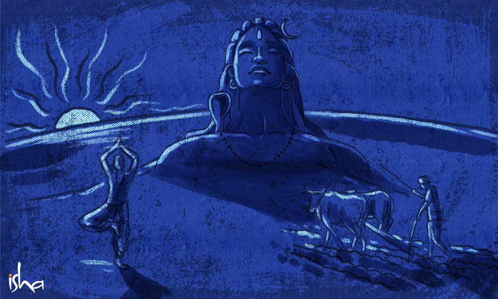 A digital illustration of Dakshinayana or Winter Solstice, Adiyogi, Farmer ploughing the land, Yogi kneading the body | The Story of Guru Purnima: From 15000 Years Ago till Today