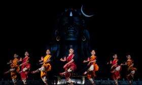 Dance performance by Isha Samskriti in front of Adiyogi