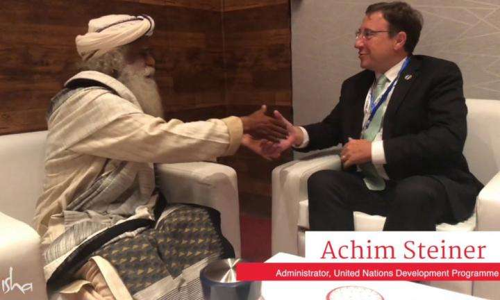 UNDP Admin Achim Steiner Discusses Cauvery Calling with Sadhguru