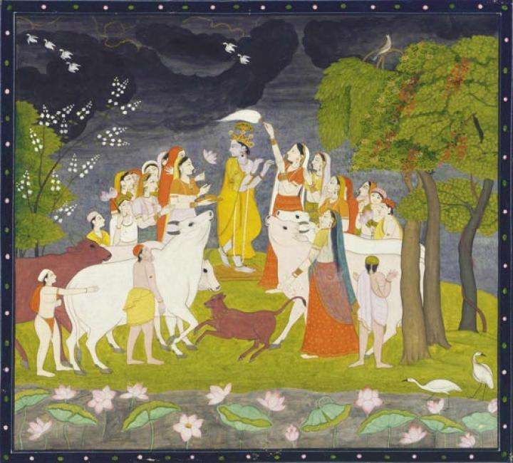 Krishna playing the flute with Radha and Gopis