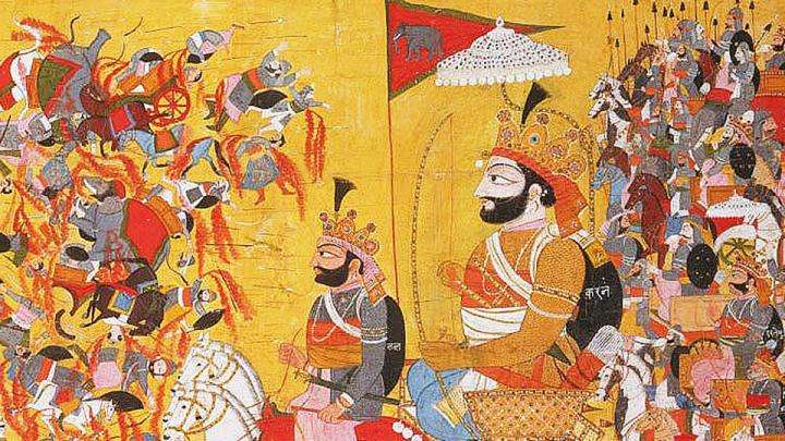 Karna with his charioteer, King Shalya in the Kurukshetra battlefield
