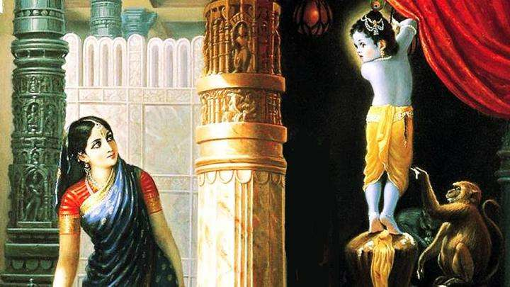 Krishna caught stealing butter by Yashoda - Butter Pranks - Krishna in Gokula