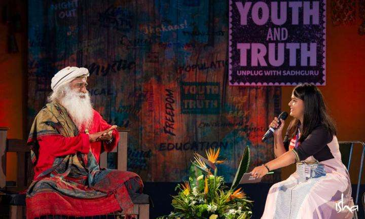 Sadhguru answering a question to a student moderator from Banaras Hindu University during the Youth and Truth movement | How to Follow Your Dreams and Still be an Obedient Daughter?