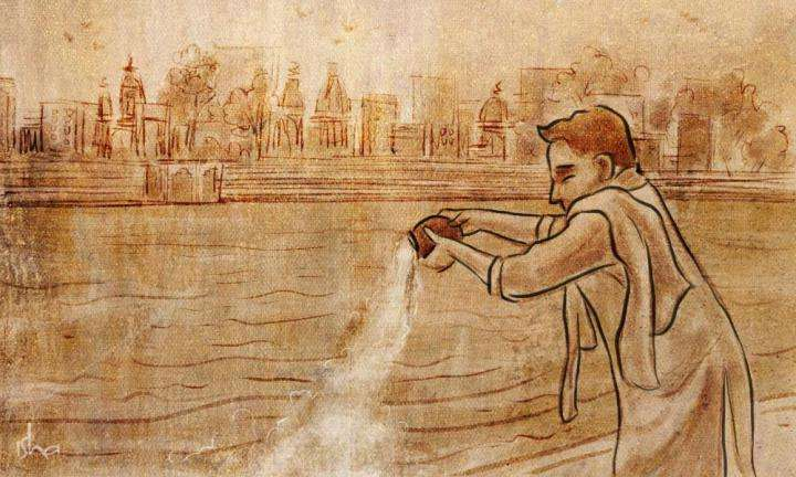 Illustration of immersion of ashes in a river | Why Do We Immerse the Ashes of the Dead in the Ganga?
