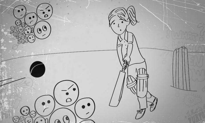 Illustration of a batswoman ready to bat, ball coming at her, and emojis with negative expressions coming at her | How To Deal With People's Negative Opinions?