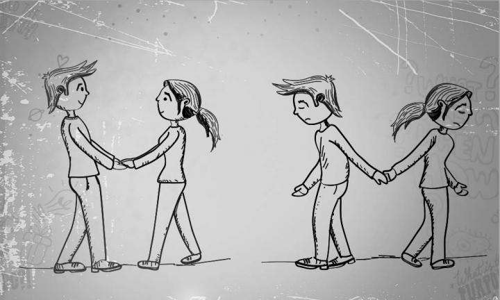 Illustration of Girl-Boy holding hands and looking happy; girl-boy moving away from each other, parting hands and looking sad | Why Are Girlfriend-Boyfriend Relationships So Complex?