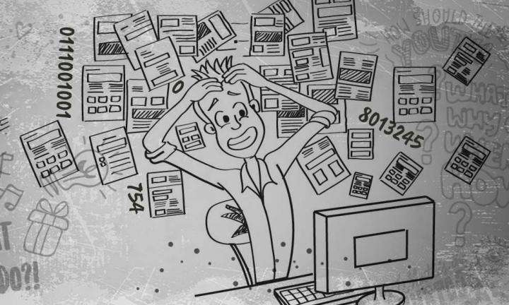 Illustration of a guy in front of computer, holding his hair, stressed out, information, numbers behind him | How to Deal with Information and Tech Overload