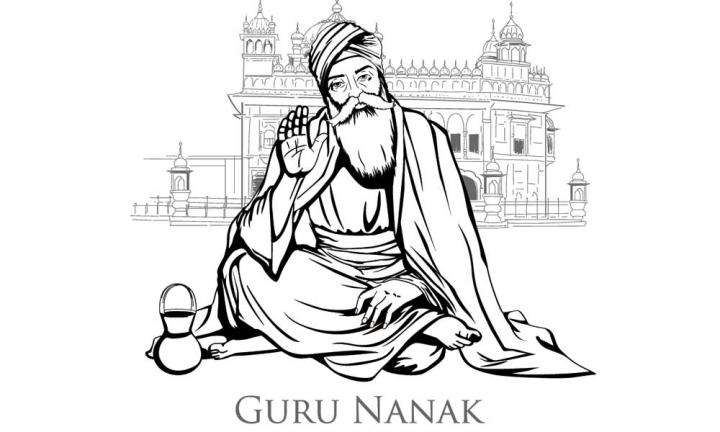 Black and White illustration of Guru Nanak | A Lesson From Guru Nanak