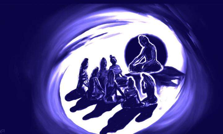 Charcoal illustration of Adiyogi transmitting the science of yoga to the Saptarishis | Adiyogi, Saptarishis and the 7 Dimensions of Yoga