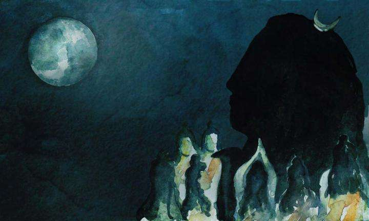 Watercolor Painting of Adiyogi, Saptarishis and Full Moon | Guru Purnima Poems From Sadhguru