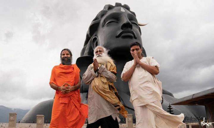 Sadhguru with Swami Ramdev and Acharya Balkrishna, infront of the 112ft Adiyogi statue at the Isha Yoga Center | Success, Indian Style