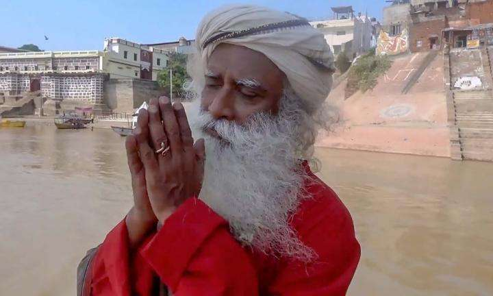 Sadhguru on a boat on Ganga, infront of Ghats in Kashi | It is Time to Restore Kashi